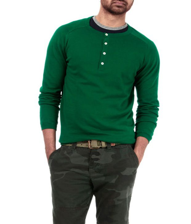 Genesis Green Full Sleeve Henley T Shirt