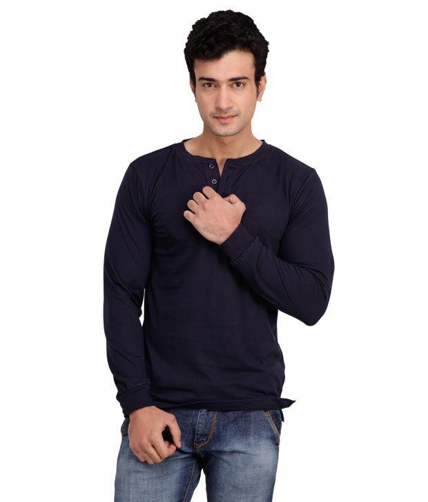 Inkovy Navy Blue Full Sleeves Henley T-Shirt