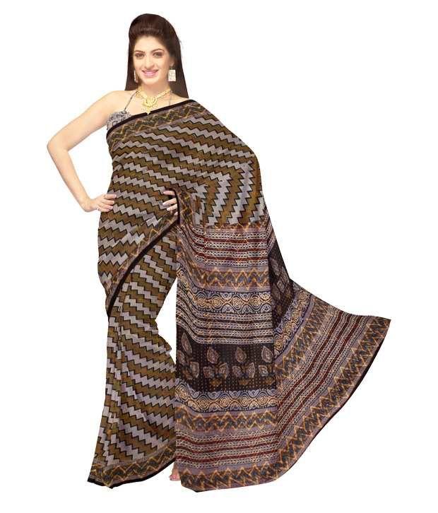Unnati Silks Grey Rajasthani Handloom Cotton Saree