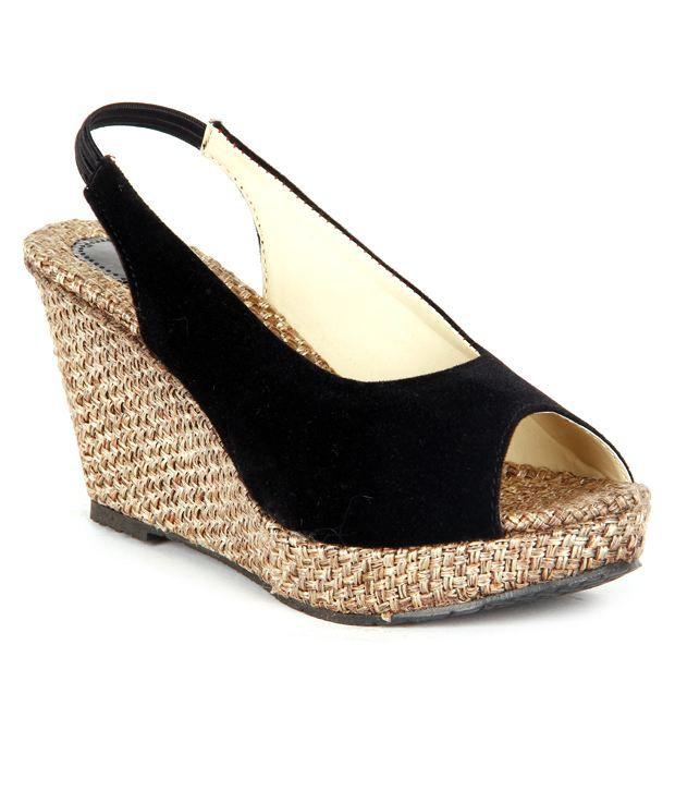 Feel It Trendy Black Wedge Heel Sandals Price in India- Buy Feel