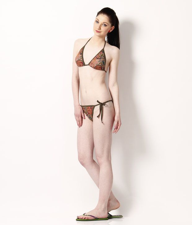 Secret 18 Red-Green Paisley Cotton Lycra Bikini Set