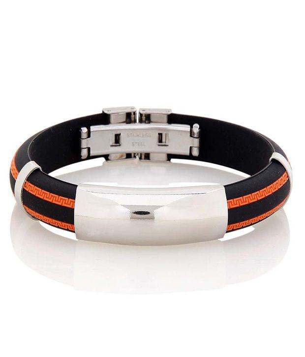 Alpha Man Black & Silver Bracelet With Orange Highlights