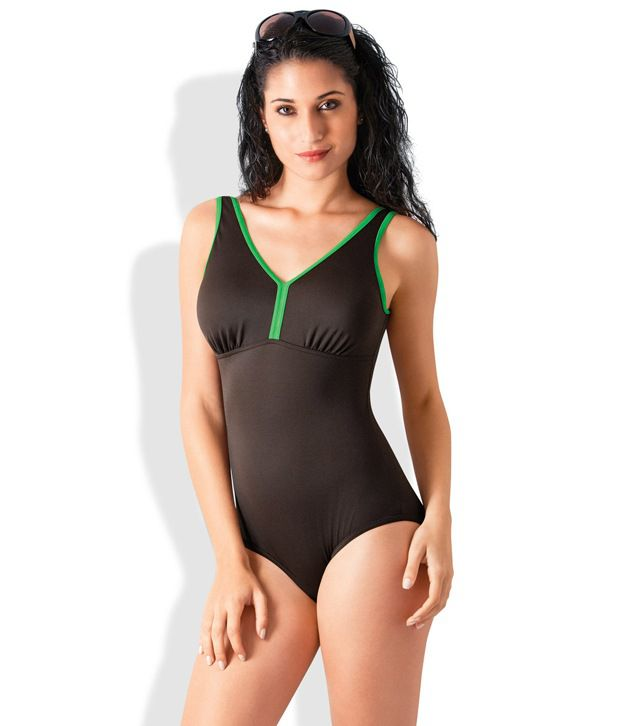 Amante Brown Polyester Swimsuit/ Swimming Costume