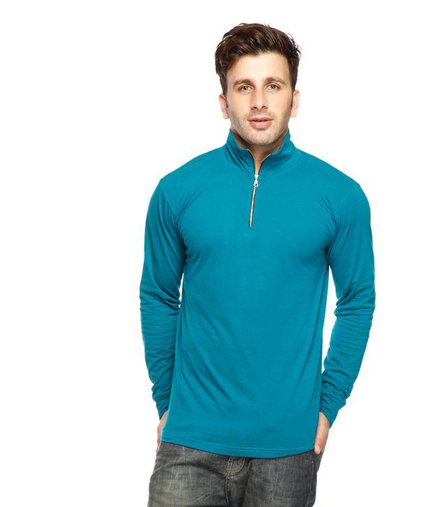 Gritstones Turquoise Zipper High Neck T Shirt