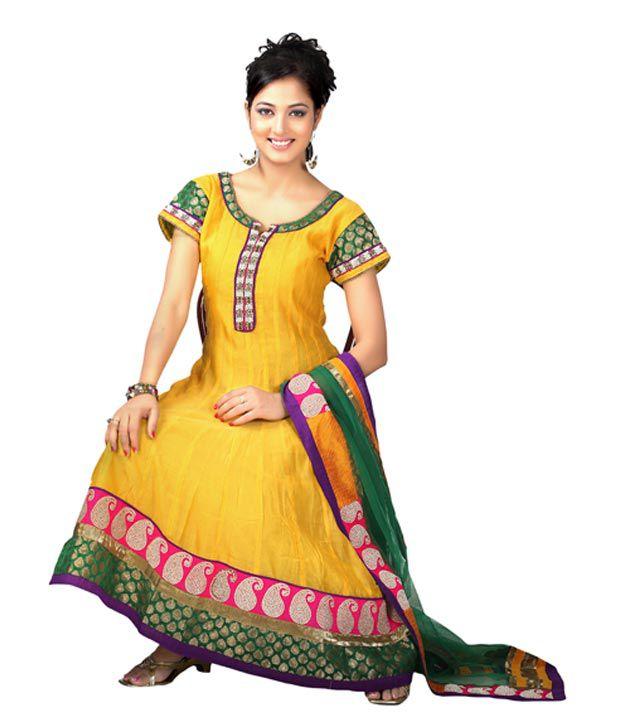 Idha Yellow Anarkali Stitched Salwar Suit