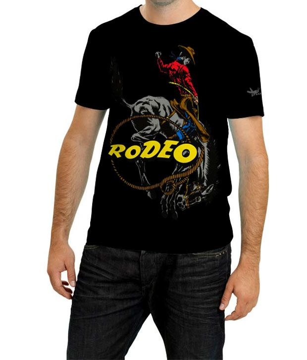 Grasshopr Rodeo Design T-Shirt- Black