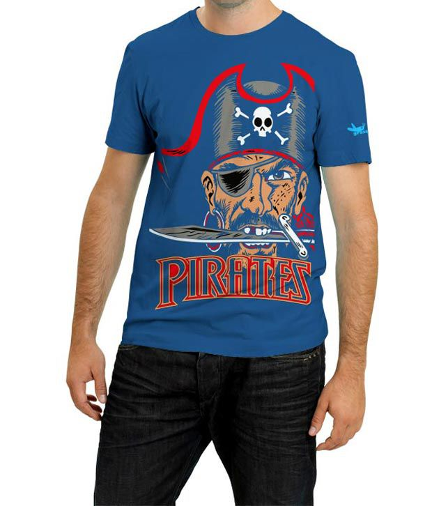 Grasshopr Pirates Design T-Shirt- Blue