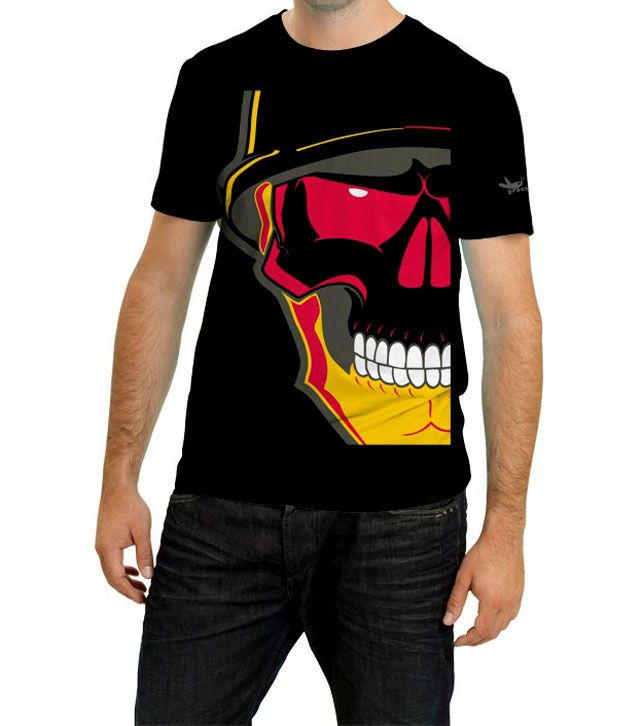 Grasshopr Skeleton Design T-Shirt- Black
