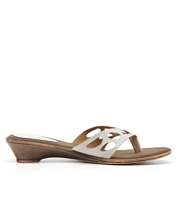 Catwalk Shimmering Cut-away Strap Slip-on in Silver