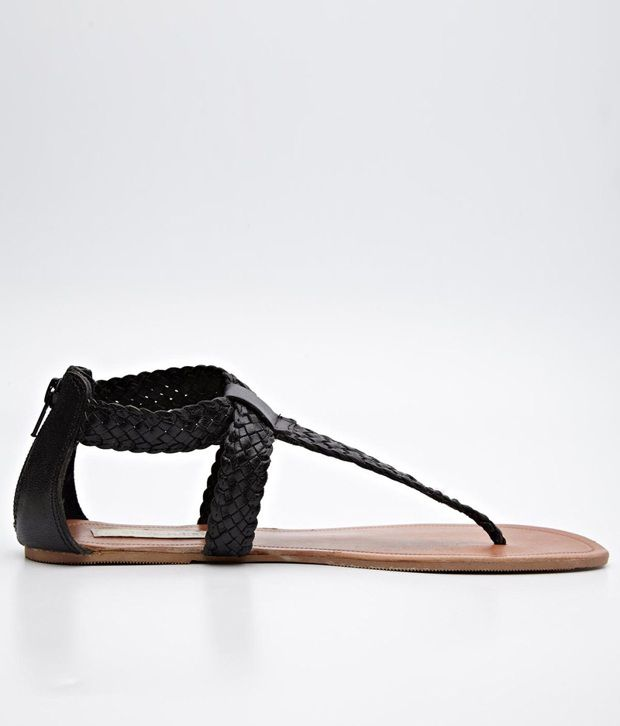 Steve Madden Braided T-Strap Sandals in Black