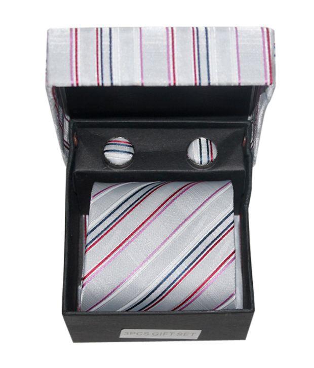 Edge  Smart Grey Ties, Cufflink & Pocket square Gift Set for Men
