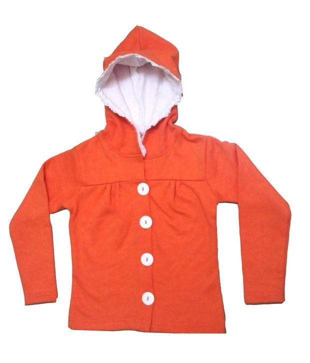 Goodway Girls Orange Hooded Full Open Sweat Shirt For Kids