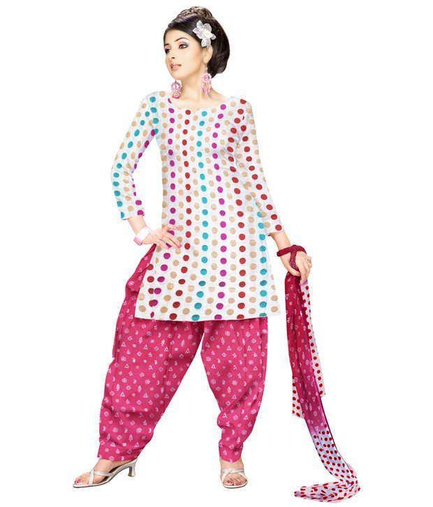 Unnati Silks White Chanderi Cotton Silk Chudidar Kameez