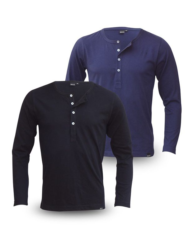 Rigo Pack Of Black-Navy Full Sleeve T Shirts