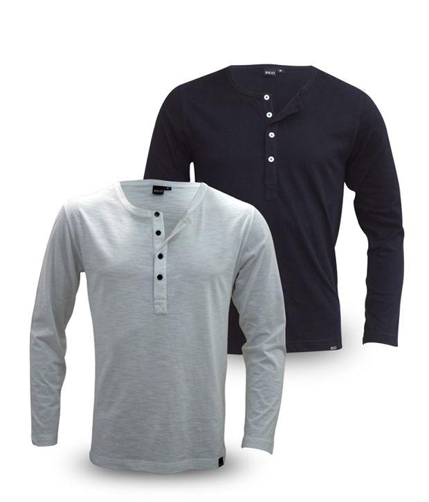 Rigo Pack Of Navy-White Full Sleeve T Shirts