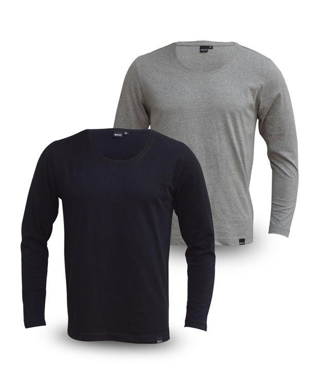 Rigo Pack Of Trendy Black-Grey Full Sleeve T Shirts