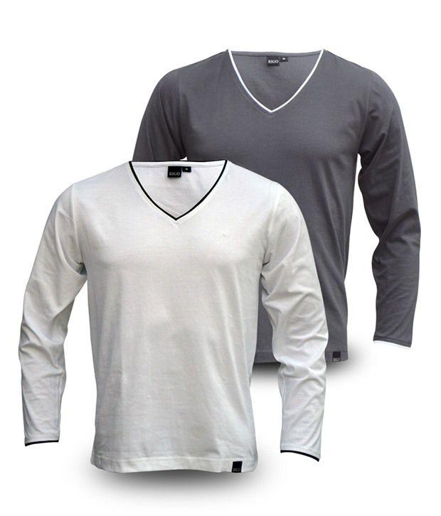 Rigo Pack Of Grey-White V-Neck Full Sleeve T Shirts