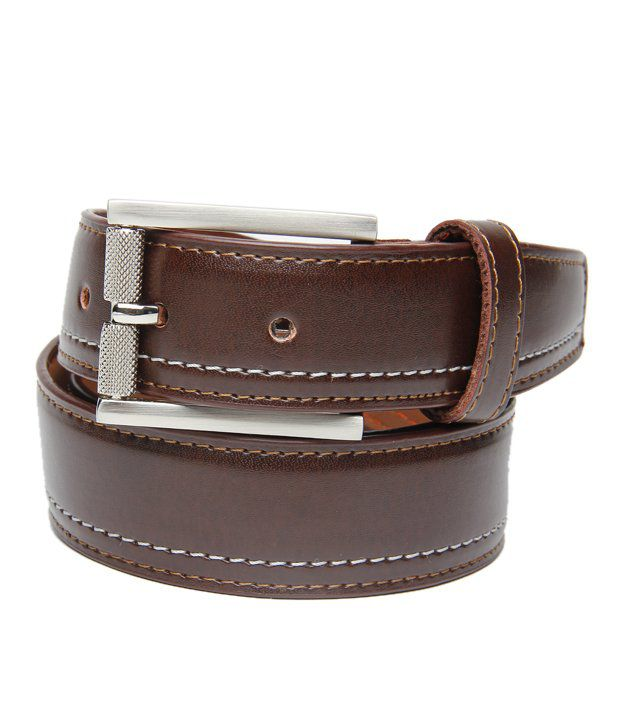 WalletsNBags Brown Leather Formal Belts