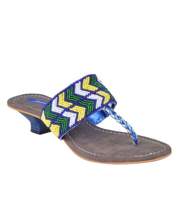 Femme Beaded Blue Slip-on Heels