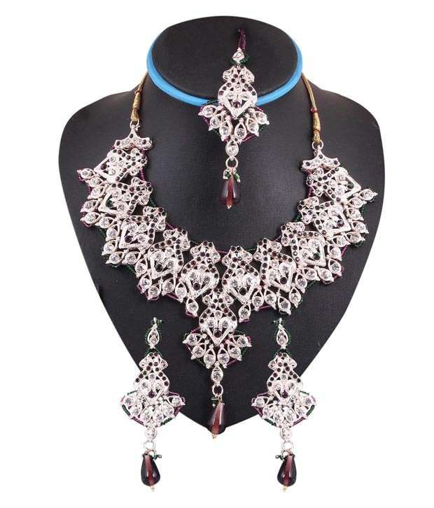 Sharnam Art Stylish Purple & Green Colour Stone Necklace Set With Maang Tika