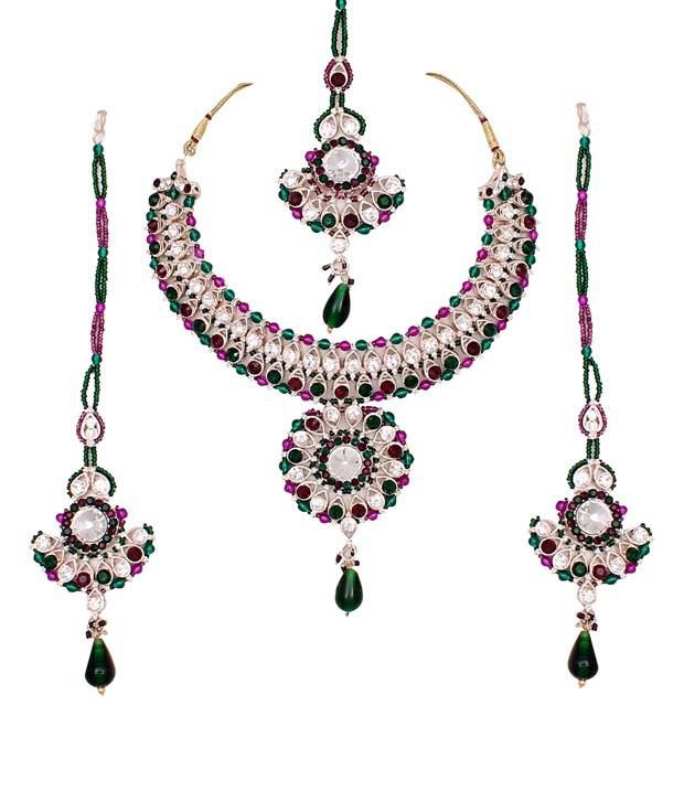 Sharnam Art Unique Purple & Green Colour Stone Necklace Set With Maang Tika