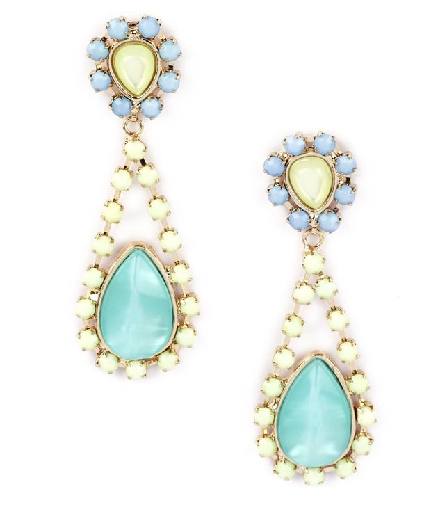 Addons Turquoise Coloured Tear Shape Earrings