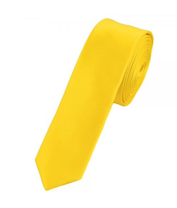 Civil Outfitters Smart Skinny Yellow Plain NeckTie with Key Chain Dairy