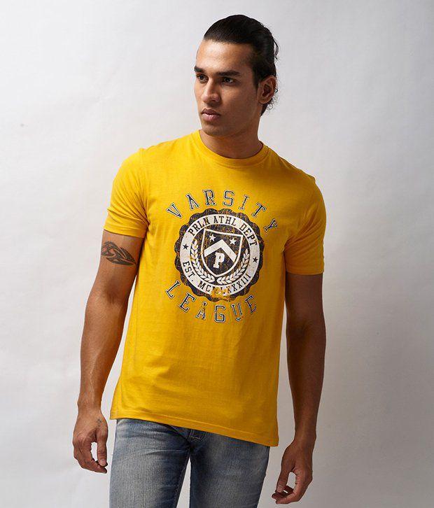 Proline Yellow Varsity League Print T Shirt