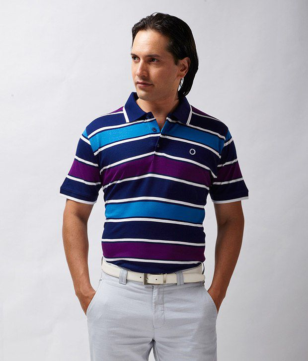 Proline Striped Blue Polo T Shirt