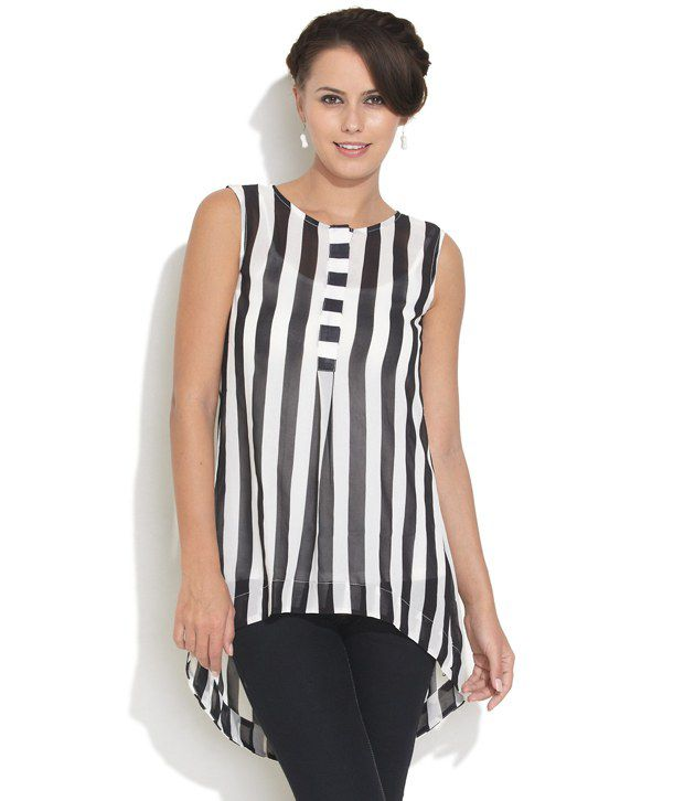 4429a7582b1 DEAL JEANS Black Striped Poly Chiffon Tunic Top - Buy DEAL JEANS Black  Striped Poly Chiffon Tunic Top Online at Best Prices in India on Snapdeal