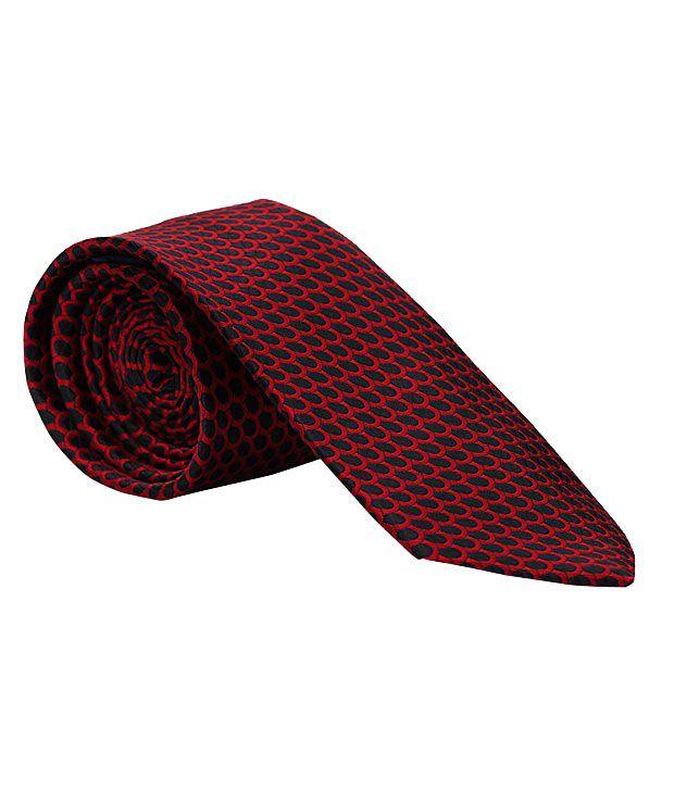 Vermello Smart Red Circular Design Tie