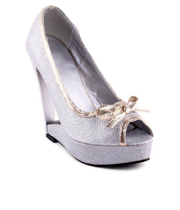 Kielz Ravishing Silver Peep Toe Pumps