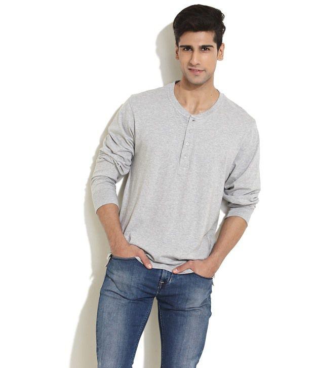 Freecultr Smart Grey Full Sleeve Henley T Shirt