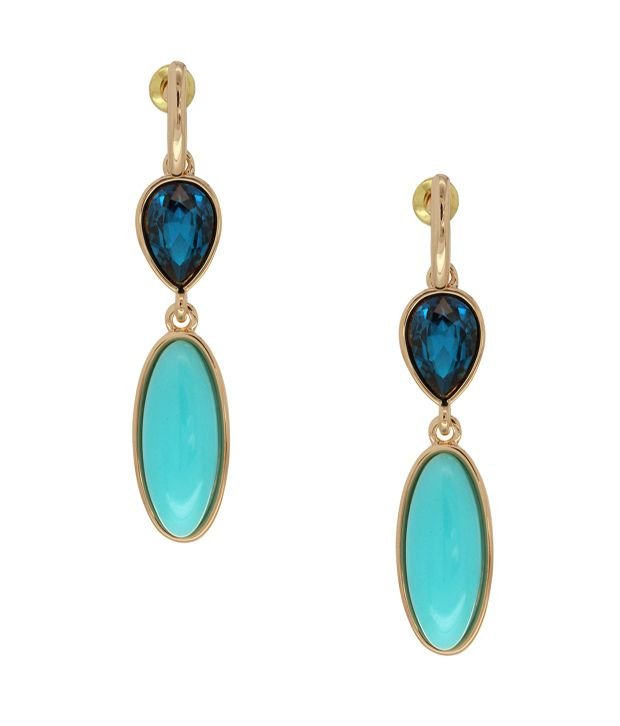 Spargz Fish Design Earrings Studded With Blue Pearl