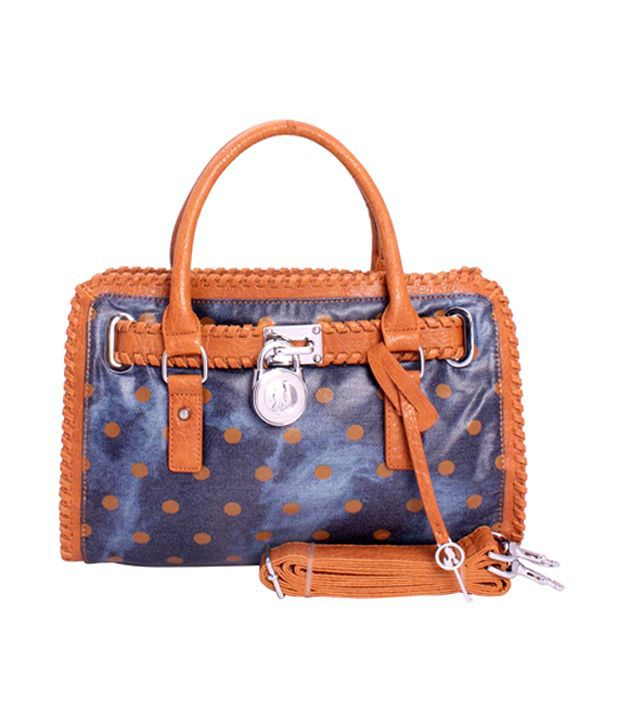 Khoobsurti Brown Classy Blue-Brown Dotted Handbags