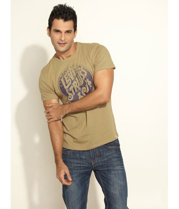 Levi's Olive Green Printed T- Shirt