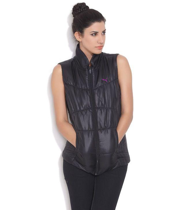 Puma Black Polyester Blend Jackets