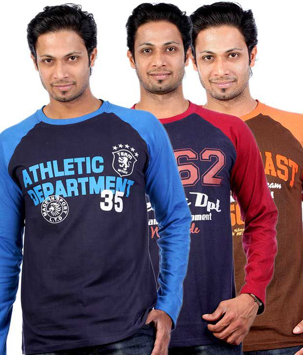 UK Tribes Pack of 3 Brown and Navy Blue Full Sleeves T-Shirt