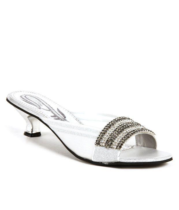 Do Bhai ShoeBazaar Silver Kitten Slip-on Heels