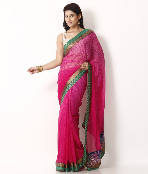 AVR Fashions Pink Faux Georgette Saree
