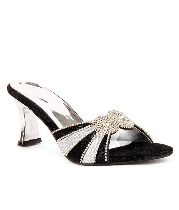 Do Bhai-ShoeBazaar Gorgeous Black & Silver Slip-on Heels