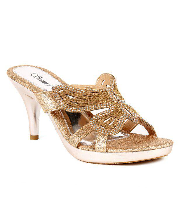 Do Bhai-ShoeBazaar Shimmery Golden Butterfly Pattern Slip-on Heels