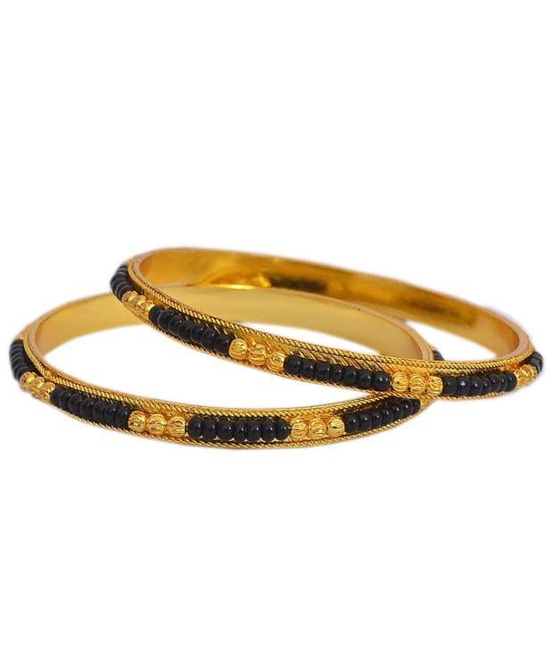 Pourni Black Beads Amp Gold Plated Bangles Buy Pourni Black