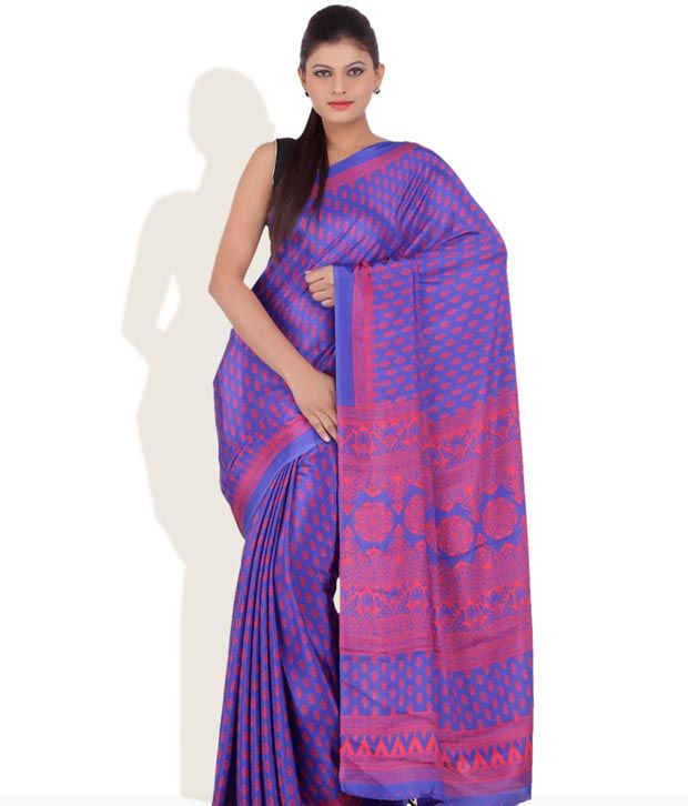 CHHABRA555 Blue Printed Polysatin Saree With Unstitched Blouse