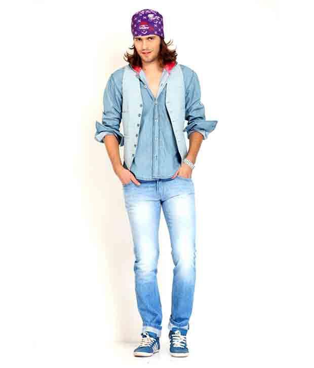 Nattg Sky Blue Modern Slim Fit Jeans