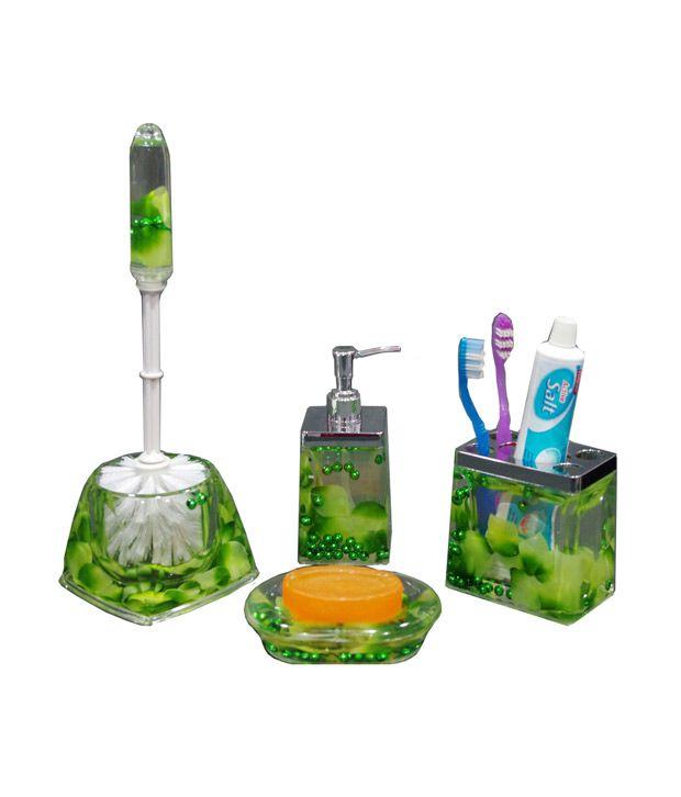 Gran dark green bath accessories 4 pcs buy gran dark for Dark green bathroom accessories
