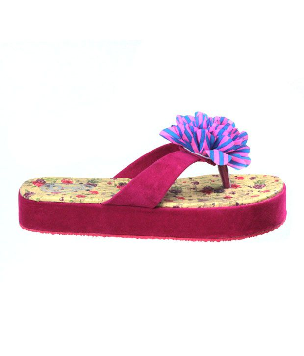 2978b5495d345d Dziner flower flip flop ladies casual wear pink chappal g1 Price in India-  Buy Dziner flower flip flop ladies casual wear pink chappal g1 Online at  Snapdeal
