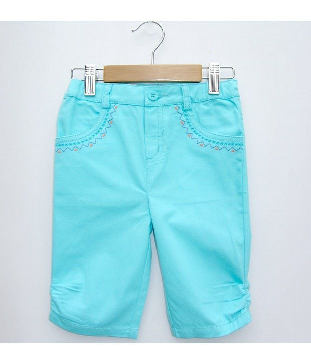 Beebay Turq Capri with Embroidery  For Kids