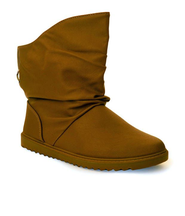 Cefiro Stylish Camel Brown Ankle Length Boots