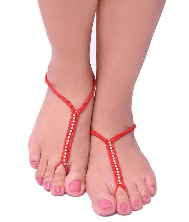 Trinketbag Red Crochet Bare Foot Sandal
